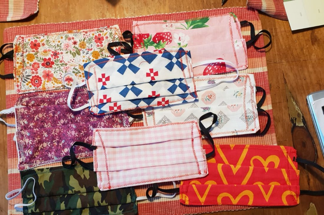 A selection of Daisy Cottage Farm COVID 19 facemasks